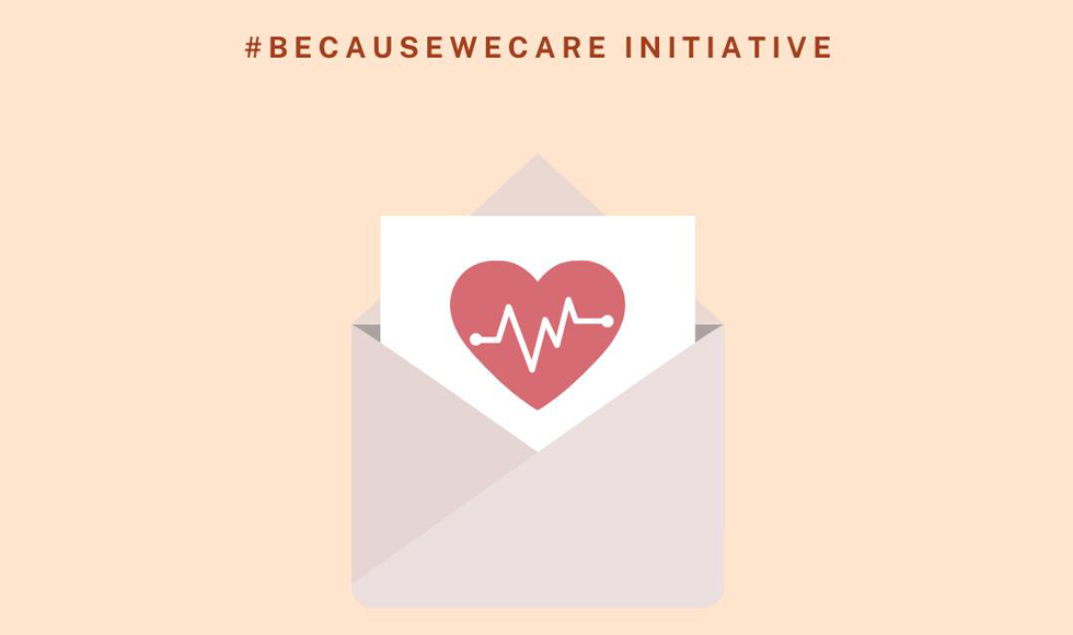 Graphic image of a card with a heart on it sticking out of an envelope, with the words Because We Care Initiative.