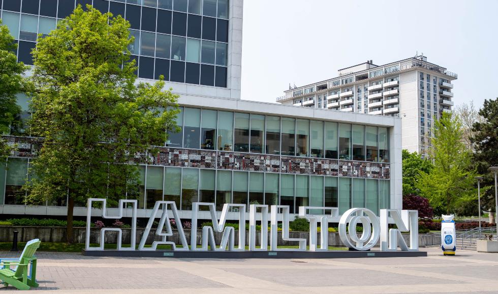 A view of the Hamilton sign outside Hamilton City Hall