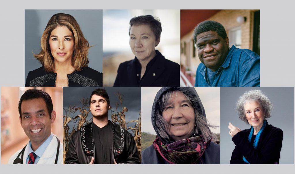 Headshots of Naomi Klein, Zita Cobb, Gary Younge, Dr. Samir Sinha, Jeremy Dutcher, Diana Beresford-Kroeger, Margaret Atwood