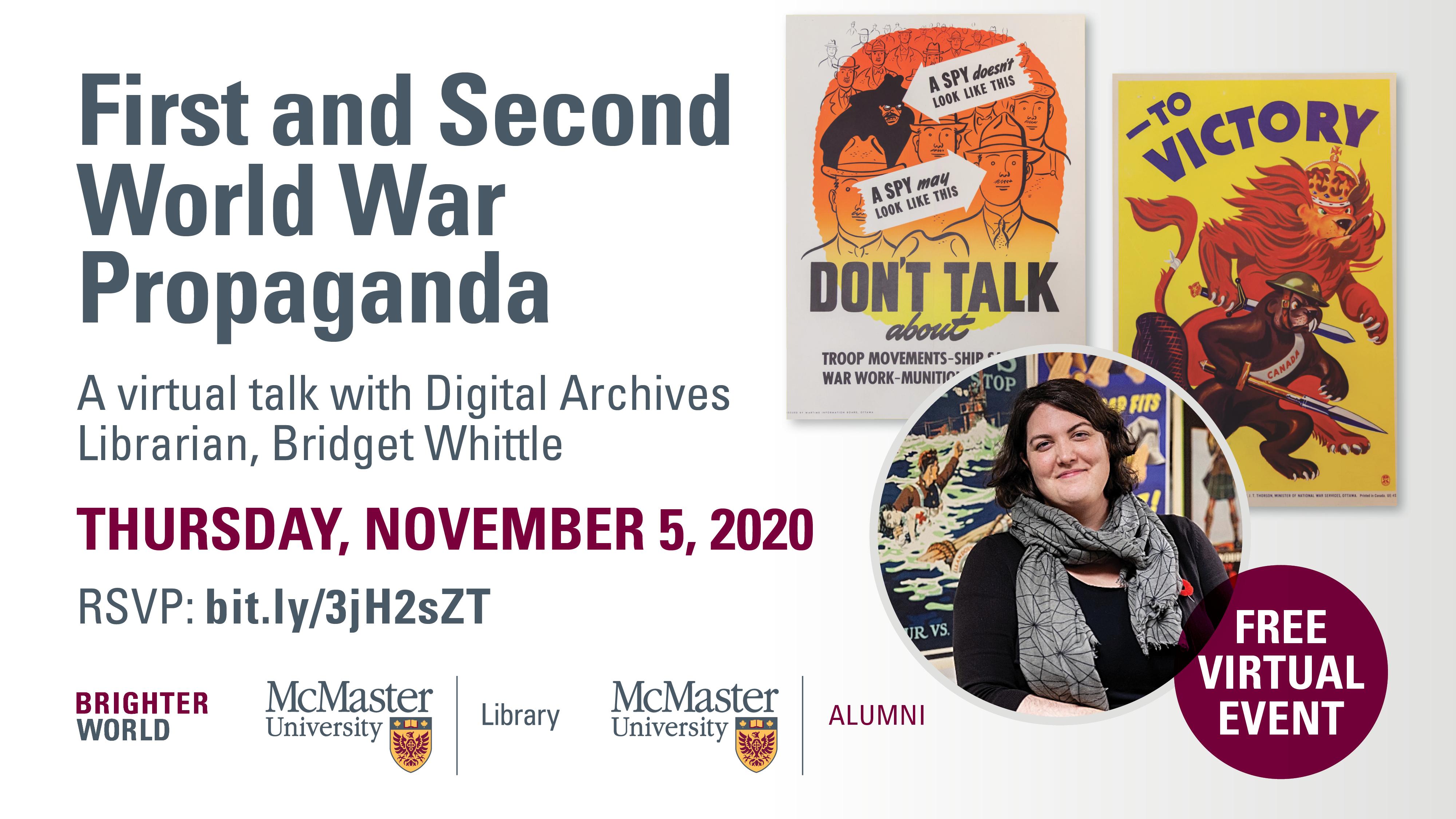 Promotional poster for WW1/WWII propaganda talk
