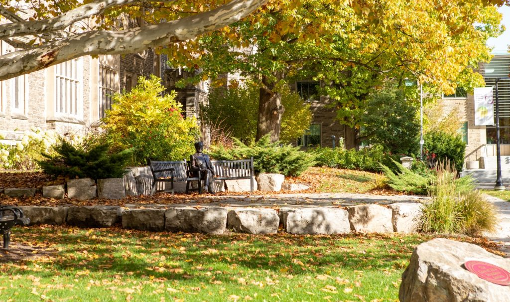 The statue of Senator McMaster on campus on a sunny fall day.