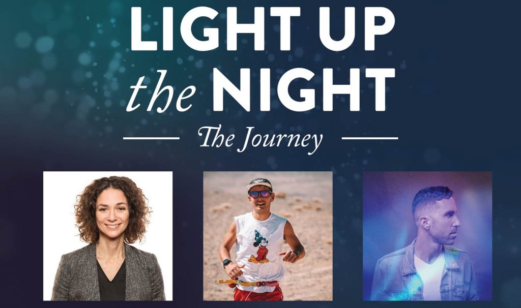 A poster that says Light up the Night: The Journey, with 3 people's pictures beneatheit