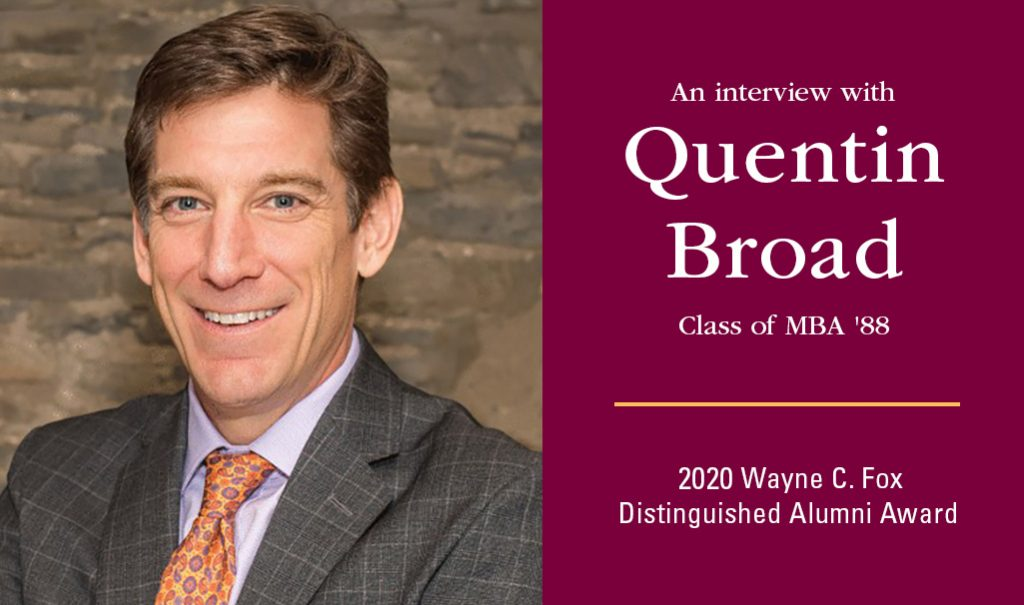 headshot of a clean-shaven man in a suit, alongside words that say An interview with Quentin Broad.